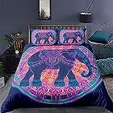 HUA JIE Fundas Nordicas Juego Edredón Elefante Bohemio con Diseño Mandala Azul Y Morado 2 Piezas Edredón Estilo Exótico Bohemio para Mujeres Adultas Colcha con Tema Animales La Tribu