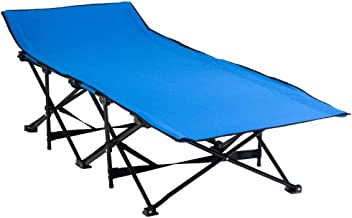 Foldable Camping and Trekking Bed in Canvas Bag - Blue / Black