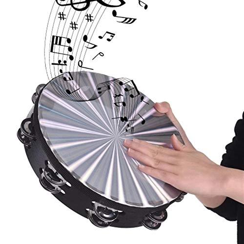 Sikungjlk Instrumento de Juguete Mano de Madera pandereta Reflectante Parche Instrumentos de percusión radiación pandereta Doble Juguete Musical de Bell para niños niños Principiantes
