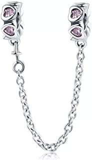 ABAOLA Heart Safety Chain Charm 925 Sterling Silver Beads fit Pandora Charms Bracelet & Necklace (Heart Safety Chain)