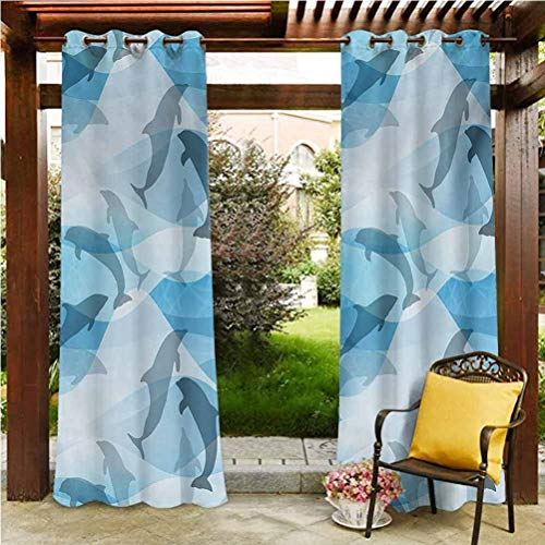 Sea Animals Blackout Curtains Outdoor for Patio&Garden with Tieback Dolphin Fish Pattern Silhouette Under the Sea Waves in Contemporary Design Blue and Grey 112'W by 95'L(K284cm x G241cm)