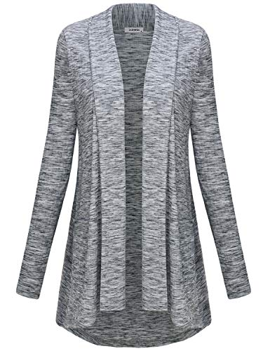 Fall Tops for Women, Woman Long Sleeve Open Front Hi Low Comfy Stretchy Draped Light Knitted Cardigan Tunic Sweater Legging Shirts Wrinkle Free Travel Clothes Grey L