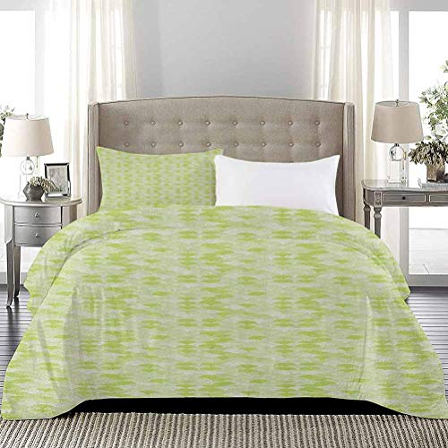 UNOSEKS LANZON Bedding Set Hand Drawn Half Circles with Cured Lines Wave Pattern Doodle Style Image Soft Lightweight Coverlet Make You Melt Whilst Asleep Pale Green and White, Full Size