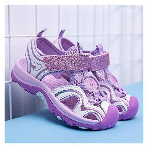 JINSUO Sandalias de verano para niñas de 4 a 12 años, zapatos de playa para niños, sandalias de moda para niños pequeños, tamaño EUR 26-37 (color: morado, tamaño de zapato: 31 pies 19 cm)