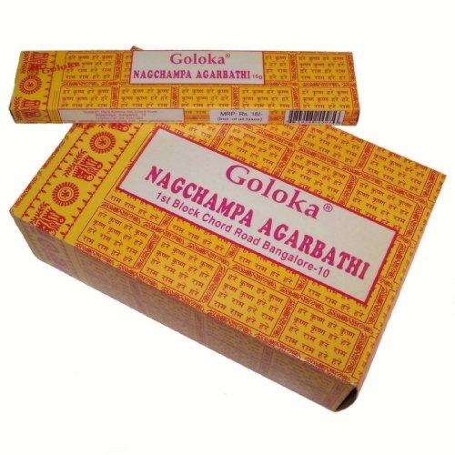 Räucherstäbchen Goloka Nag Champa gelb 192g Großpackung 12 Schachteln zu je 16g