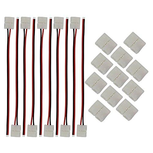 CESFONJER 10 PCS Connettore cavo da a 2 pin, 10 PCS 2 poli rapido connettore per 3528 striscia LED Unico colore senza saldatura