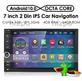 hizpo Android 10 Universal Autoradio 7 Zoll Multimedia Player 64 GB + 4 GB Car GPS Navigation Bluetooth WiFi Hotspot DAB + Subwoofer USB SD