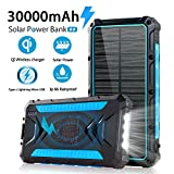 Solar Power Bank 30000mAh Power Bank, Solar Charger,Portable Charger, Outputs 5V/3A High-Speed & 2 Inputs Huge Capacity Phone Charger for Smartphones, IP66 Rating, Strong Light LED Flashlights(Blue).