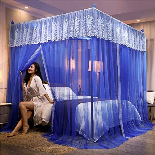 SJHP Elegant Bed Vorhänge Canopy Stickerei Ruffle Flowers 4 Corner Himmelbett Vorhänge Netz für Bett-Bett-Überdachung Metallhalterung Vorhang Bett-Überdachung Net Blue-1.8x2.2m Bed