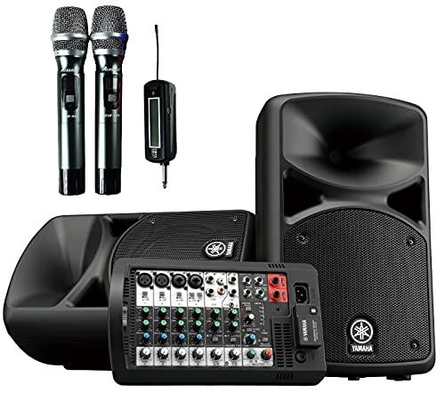 YAMAHA STAGEPAS 400BT All-in-One 400W Bluetooth PA System with ACESONIC UHF-920 900MHz Dual Wireless Microphones for PA, Karaoke, KTV, Party, Outdoor Event, and more