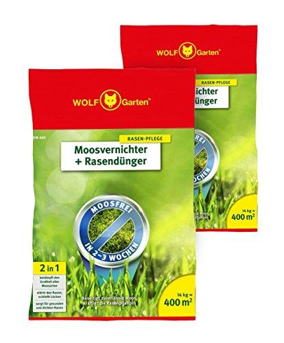 WOLF Garten Moosvernichter und Rasendünger - 2X SW 400-28 kg für 800 m²