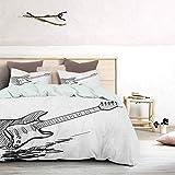 UNOSEKS LANZON - Colcha para cama de matrimonio, diseño de guitarra eléctrica sobre fondo blanco, diseño de música de rock con texto en inglés