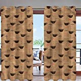 Hiiiman Outdoor Blackout Curtains Thermal Insulated Coffee Cups Espresso W84 x L84 Grommet Top for Gazebo Front Porch Patio