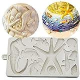 Amoyer 3D Seepferd Shell Starfish-Silikon-Form Schokoladen-Fondant-Form-DIY-Party-Kuchen, die Werkzeuge Kuchen-Süßigkeit Fimoton Moulds Weiß