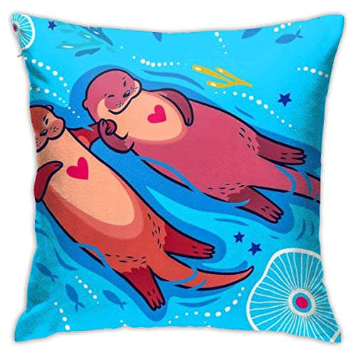 wteqofy Throw Pillow Covers Modern Decorative Throw Pillow Case You Are My Significant Funny Cartoon Otters in The Sea Pillow Covers Cushion Case for Room Bedroom Room Sofa Chair Car,18 X 18 Inch