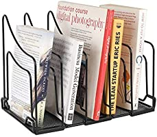 Callas Heavy-Duty 5 Sections File Rack, Book Rack, Bookend Desk Organizer, Black, CA17354