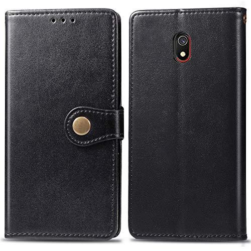 Mingxian For la caja de cuero de la hebilla de la protección del teléfono móvil Xiaomi redmi 8A retro sólido de color de piel con marco de fotos y ranura for tarjeta y monedero y función de soporte (N