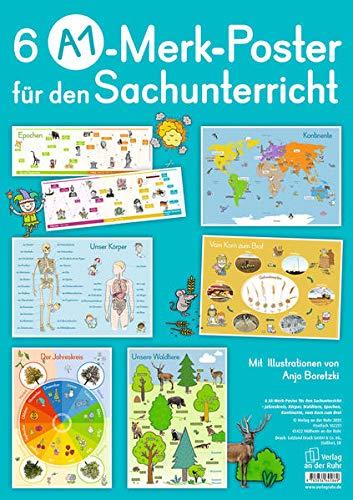 Merk-Poster: 6 A1-Merk-Poster für den Sachunterricht – Jahreskreis, Körper, Waldtiere, Epochen, Kontinente, vom Korn zum Brot