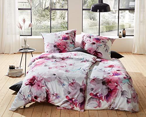 Bettwaesche-mit-Stil Mako Satin Blumen Bettwäsche Magnolie rosa türkis 135x200 + 80x80 cm - 100% Baumwolle