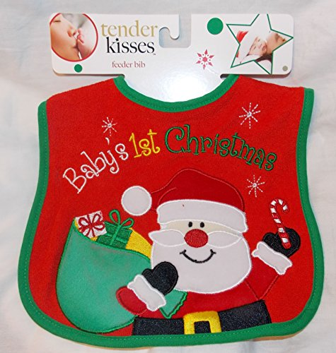 Red Baby's 1st Christmas Baby Bib - Santa with Toy Bag