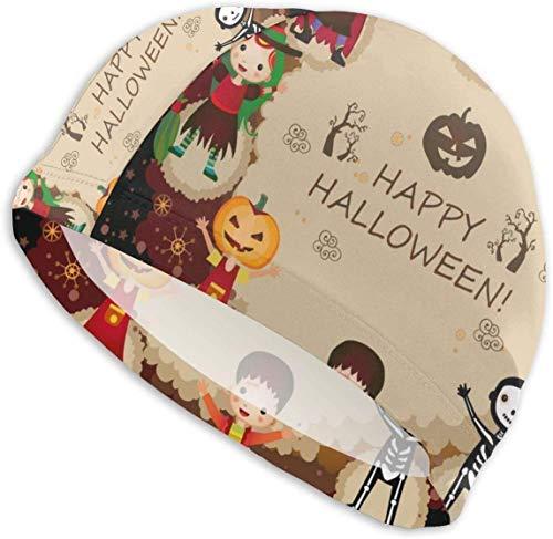 MKLQ eine Illustration von Kindern in Halloween-Kostümen Erwachsene Badekappe Hochelastische Badekappe hält das Haar sauber und atmungsaktiv