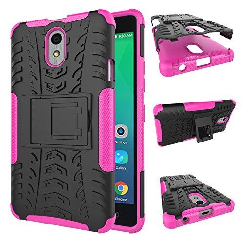 TiHen Handyhülle für Lenovo Vibe P1M Hülle, 360 Grad Ganzkörper Schutzhülle + Panzerglas Schutzfolie 2 Stück Stoßfest zhülle Handys Tasche Bumper Hülle Cover Skin mit Ständer -Rose