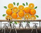 CQDSQN 3D pegatinas de pared Auto-adhesivo Naranja fruta textura hoja tienda frutería Papel pintado Mural Comida y bebida Pizza Restaurante Tienda de café Mural Pelo Uñas Belleza Tema M(W)400x(H)280cm
