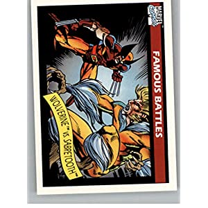 1990 Impel Marvel Universe #119 Wolverine vs. Sabretooth Non Sport Entertainment Trading Card in Raw (NM or Better) Condition