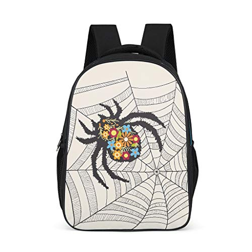Flower Spider Teenage's Rucksack Large All Over Print for Student grey onesize