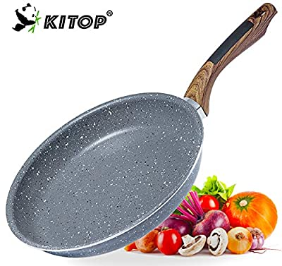 Non Stick Frying Pan Cookware with Stone Coating, KITOP 10in Aluminum Alloy Cooking Skillets PFOA-Free Stir Fry Pans with Natural Textured Bakelite Handle Suitable for All Stove
