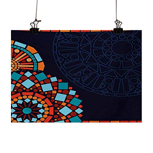 ParadiseDecor Dark Blue 3D Wall Art Colorful Geometric Circular Motifs Framework Moroccan Mosaic Style Canvas Painting for Living Room Wall Art 36X24 Inch Multicolor
