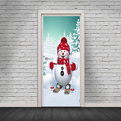 JIANXIQT deurstickers voor binnendeuren, citaat muurstickers moderne 3D Cartoon Snowboard Snowman deur Sticker Kerstmis Art Applique voor woonkamer schuifdeur klas huisdecoratie 77x200cm
