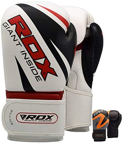 RDX Boxhandschuhe für Training und Muay Thai Maya Hide Leder Punchinghandschuhe für Kickboxen, Kampfsport, Sparring, Fitness, Boxsack Punching, Sandsack Boxing Gloves (MEHRWEG)