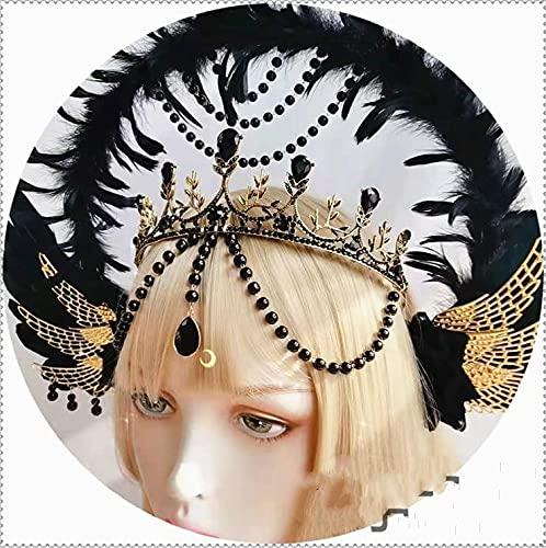 hongruida Lolita Angel Wings - Cadena de cuentas con diseño de virgen, estilo barroco, halo tiara, accesorio para el cabello, corona de madrina (color: negro solo corona)