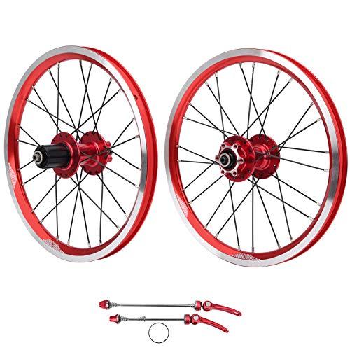 Juego de Ruedas de Bicicleta, Juego de Ruedas de aleación de Aluminio para Bicicleta de montaña, para Freno en V, Uso en Exteriores, Bicicleta de montaña para niños Adultos(Red)