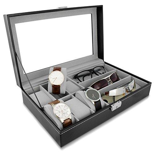 Grinscard Kombi Schatulle für Uhren und Brillen - Schwarz ca. 33 x 20 x 8 cm - Sonnenbrillen und Uhr Präsentationscase