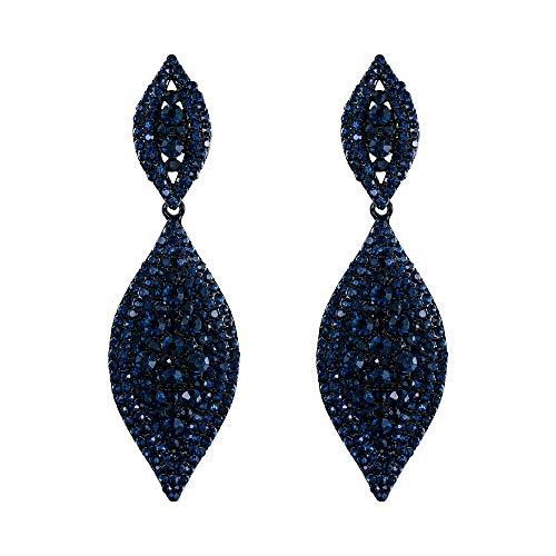 EVER FAITH Women's Austrian Crystal Wedding Bridal Charm 2 Leaf Drop Dangle Earrings Navy Blue