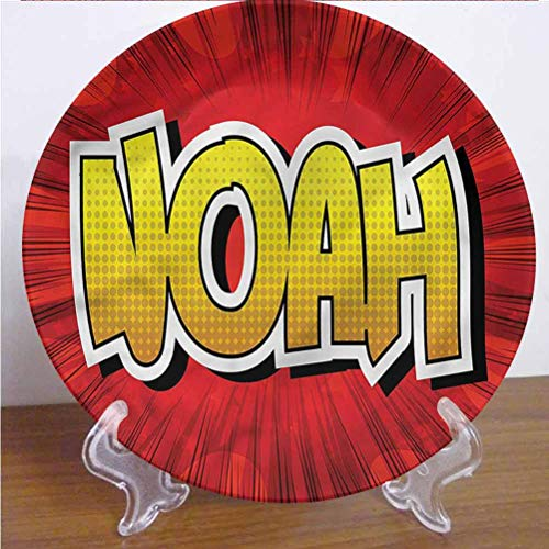 Channing Southey 10 Inch Noah 3D Printed Decorative Plate,Common Teen Boys Name Tableware Plate Decor Accessory for Dining Table Tabletop Party Kitchen Home Decor