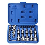 YXZQ Kit de réparation de Filetage Outil 30 Pièces Chrome Vanadium en Acier Manchon Set Manchon Peu Réparation Mécanique Outils Ménagers Set Hexagonal Prune pour la réparation de Voiture