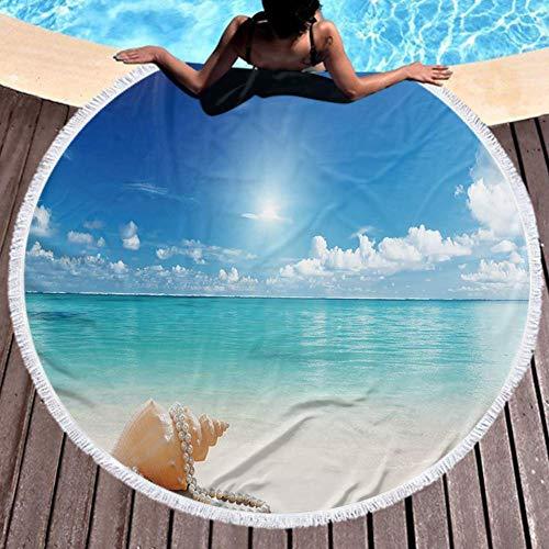 W-wishes Mikrofaser Strandtuch Muscheln und Perls am Strand Strand 59 Zoll Durchmesser
