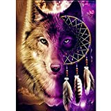 <span class='highlight'><span class='highlight'>nuoshen</span></span> DIY 5D Diamond Painting Full Kits, Wolf Crystal Rhinestone Embroidery Pictures Arts Craft Gift Included for Home Wall Decor