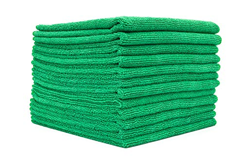 The Rag Company - All-Purpose Microfiber Terry Cleaning Towels - Commercial Grade, Highly Absorbent, Lint-Free, Streak-Free, Kitchens, Bathrooms, Offices, 300gsm, 16in x 16in, Green (12-Pack)