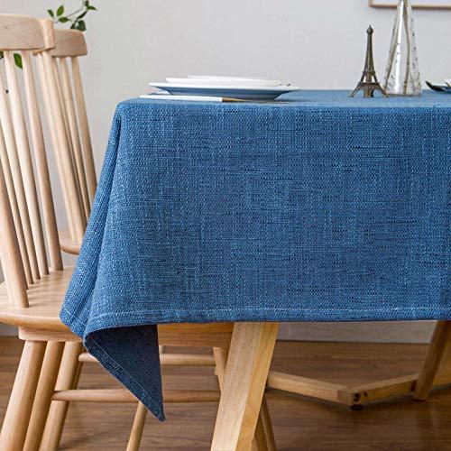Yinaa Mantel Mesa Rectangular Decorativo Lino de Algodón Transpirable Antimanchas Manteles Cocina Azul Marino 130 × 240cm