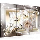 Runa Art Fiori Gigli Quadri Soggiorno Grande Beige Marrone Diamante 120 x 80 cm 3 Pezzi Decorazione Murale 021731a