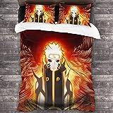 Wall Aion Anime Naruto Uzumaki Juego de Cama para Cosplay con Cierre de Cremallera, Juegos de Fundas de Microfibra cepillada Liviana, 3 Piezas, colchas peludas para Dormitorio C11885