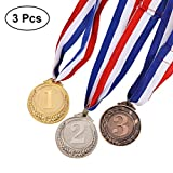 Toyvian Medallas de Medalla de Plata de 3 Piezas Metal Gold Bronce - Medallas de Ganador de Estilo olímpico Gold Silver Bronze for Competition