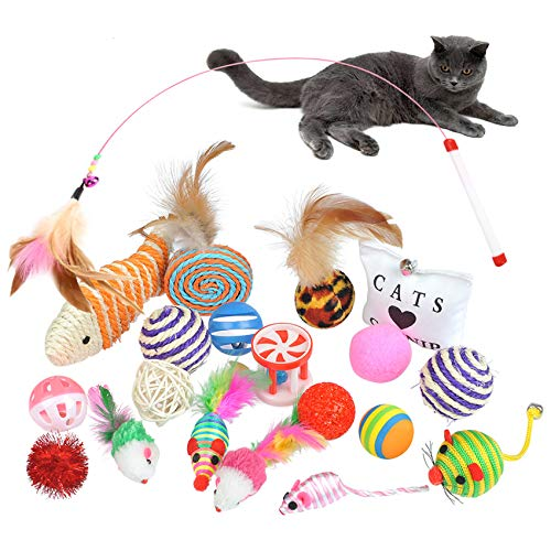 BUYGOO 20PCS Katzenspielzeuge Katze Interaktives Spielzeug Katzenangel Set, Katze Maus Spielzeug,Kätzchen Ball Spielzeug,Katze Fisch Spielzeug,Feder Teaser,Zauberstab usw 20 Spielzeuge für Katzen