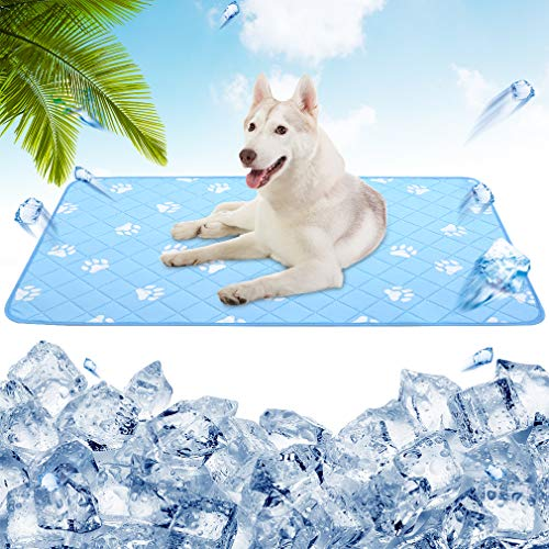 PUPTECK Anti-Slip Dog Self Cooling Mat - Ice Silk Large Cooling Pad for Dogs in...