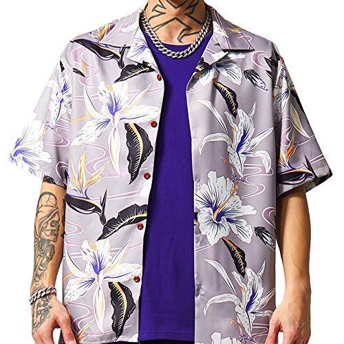 Camisas de Manga Corta para Hombre, Relajado, Estampado, Tendencia, Solapa de Moda, cómodo, Informal, al Aire Libre, Hippie, Hawaiano S