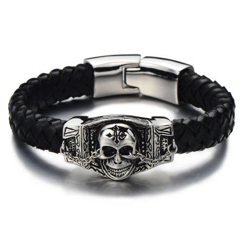 COOLSTEELANDBEYOND Biker Geflochtenes Leder-Armband Schädel-Armband für Herren aus Edelstahl und Echtem Leder Silber Schwarz Zwei Töne Gotik